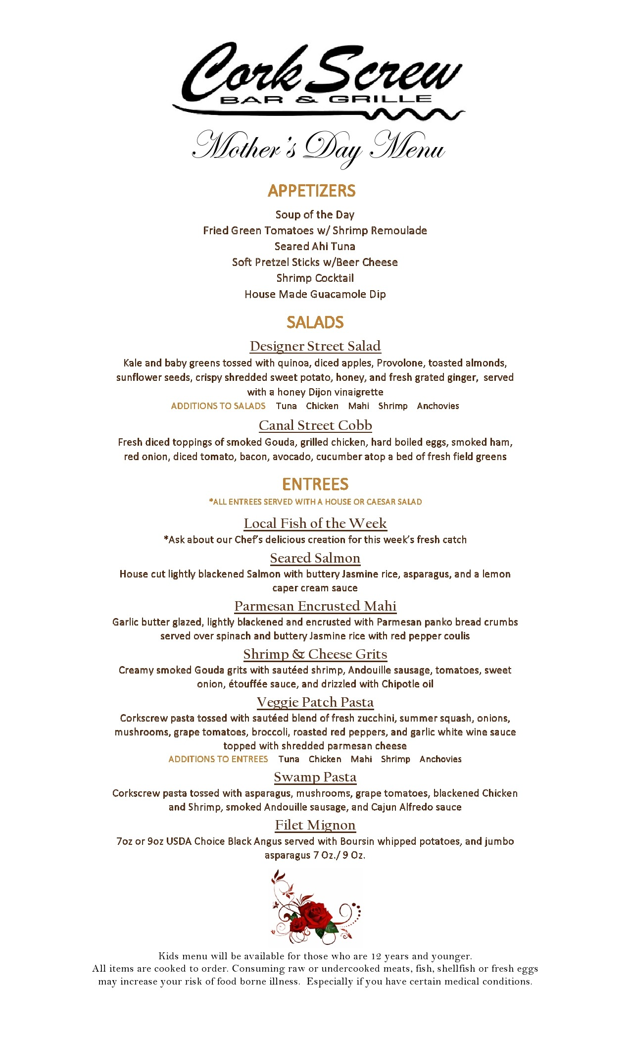 Mother's Day Dinner Menu 2019 - No Prices JPG1 - The